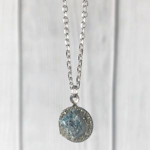 Blue Apatite Crystal Pyrite Necklace